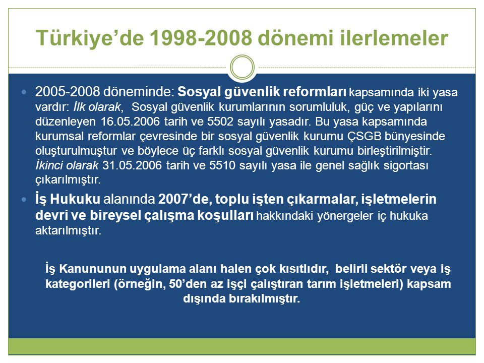 Türkiye'de 1998-2008 dönemi ilerlemeler  2005-2008 döneminde: Sosyal güvenlik reformları kapsamında iki yasa vardır: İlk olarak, Sosyal güvenlik kurumlarının sorumluluk, güç ve yapılarını düzenleyen 16.05.2006 tarih ve 5502 sayılı yasadır.