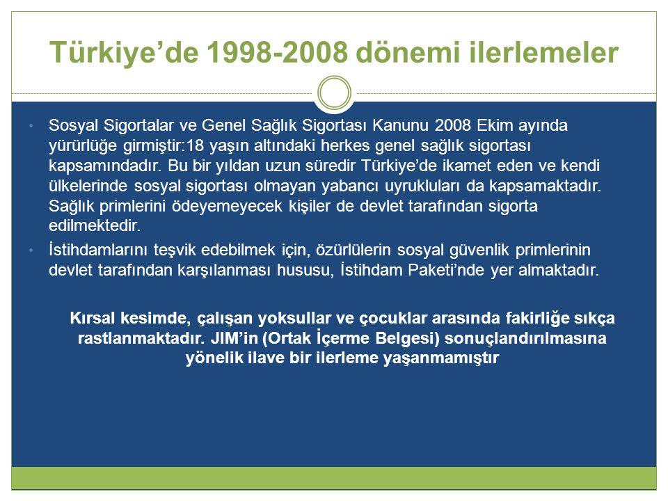 Türkiye'de 1998-2008 dönemi ilerlemeler • Sosyal Sigortalar ve Genel Sağlık Sigortası Kanunu 2008 Ekim ayında yürürlüğe girmiştir:18 yaşın altındaki herkes genel sağlık sigortası kapsamındadır.