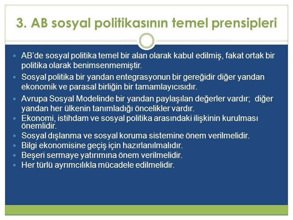 3. AB sosyal politikasının temel prensipleri  AB'de sosyal politika temel bir alan olarak kabul edilmiş, fakat ortak bir politika olarak benimsenmemi