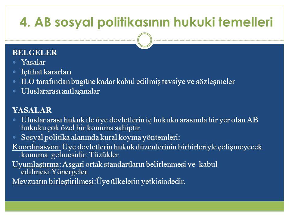 4. AB sosyal politikasının hukuki temelleri BELGELER  Yasalar  İçtihat kararları  ILO tarafından bugüne kadar kabul edilmiş tavsiye ve sözleşmeler