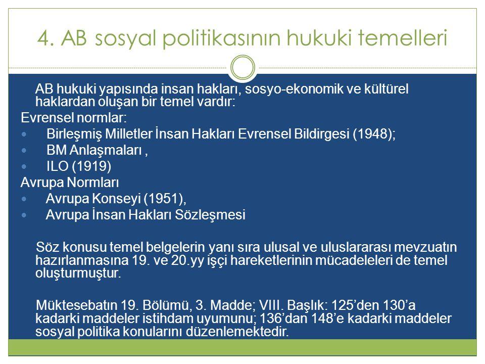 4. AB sosyal politikasının hukuki temelleri AB hukuki yapısında insan hakları, sosyo-ekonomik ve kültürel haklardan oluşan bir temel vardır: Evrensel