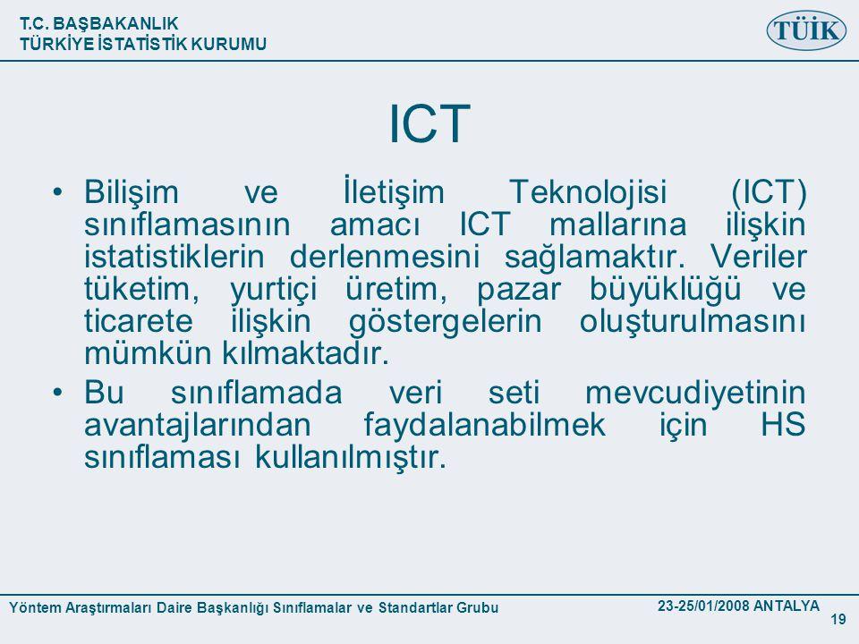 T.C. BAŞBAKANLIK TÜRKİYE İSTATİSTİK KURUMU Yöntem Araştırmaları Daire Başkanlığı Sınıflamalar ve Standartlar Grubu 23-25/01/2008 ANTALYA 19 ICT •Biliş