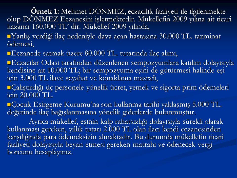 Örnek 1: Mehmet DÖNMEZ, eczacılık faaliyeti ile ilgilenmekte olup DÖNMEZ Eczanesini işletmektedir.