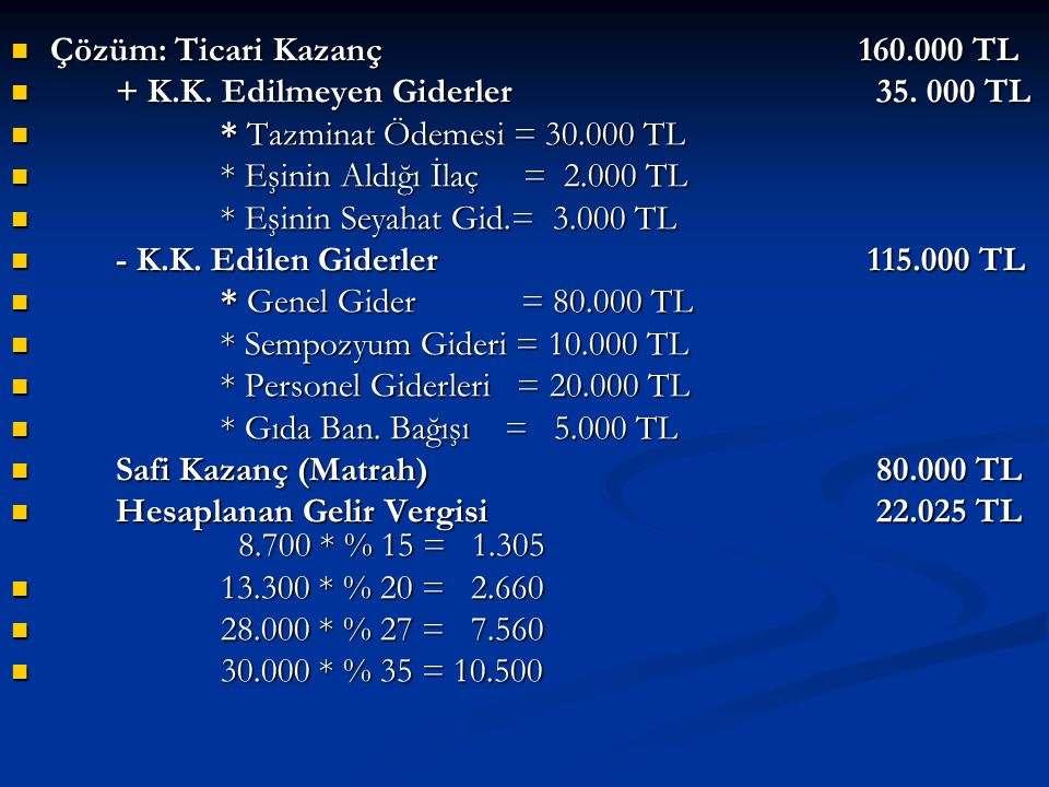 Çözüm: Ticari Kazanç 160.000 TL  + K.K.Edilmeyen Giderler 35.