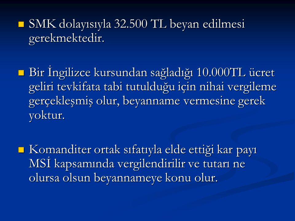  SMK dolayısıyla 32.500 TL beyan edilmesi gerekmektedir.
