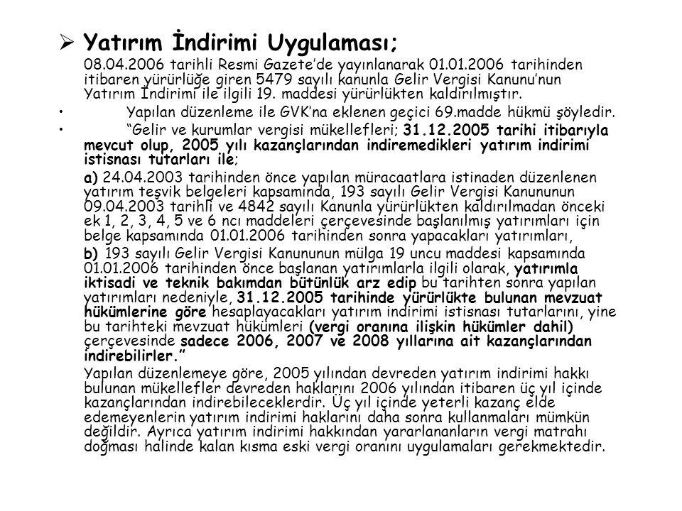  Yatırım İndirimi Uygulaması; 08.04.2006 tarihli Resmi Gazete'de yayınlanarak 01.01.2006 tarihinden itibaren yürürlüğe giren 5479 sayılı kanunla Geli