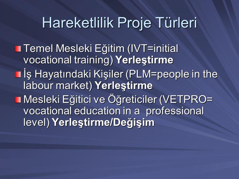 Hareketlilik Proje Türleri Temel Mesleki Eğitim (IVT=initial vocational training) Yerleştirme İş Hayatındaki Kişiler (PLM=people in the labour market)