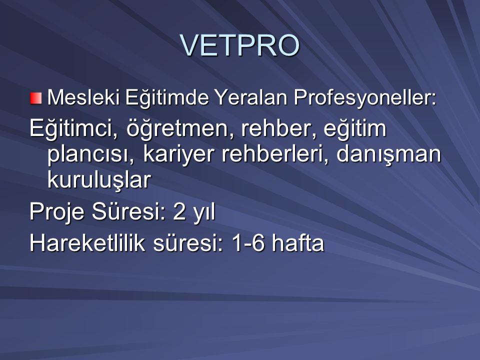 VETPRO Mesleki Eğitimde Yeralan Profesyoneller: Eğitimci, öğretmen, rehber, eğitim plancısı, kariyer rehberleri, danışman kuruluşlar Proje Süresi: 2 y