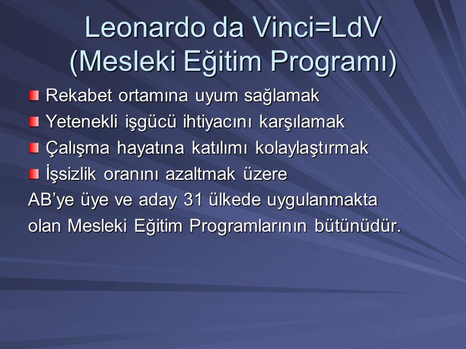 Leonardo da Vinci=LdV (Mesleki Eğitim Programı) Rekabet ortamına uyum sağlamak Yetenekli işgücü ihtiyacını karşılamak Çalışma hayatına katılımı kolayl