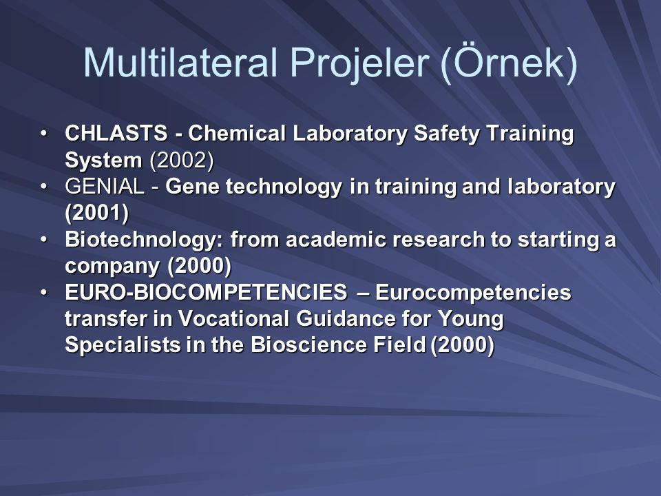 •CHLASTS - Chemical Laboratory Safety Training System (2002) •GENIAL - Gene technology in training and laboratory (2001) •Biotechnology: from academic research to starting a company (2000) •EURO-BIOCOMPETENCIES – Eurocompetencies transfer in Vocational Guidance for Young Specialists in the Bioscience Field (2000)