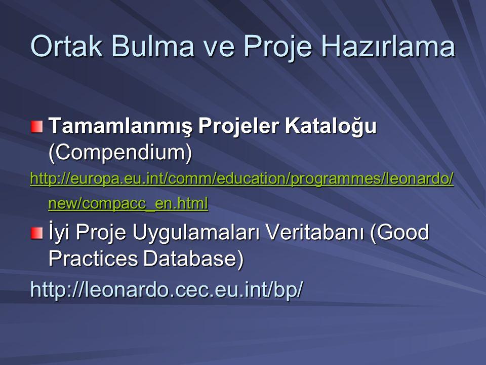 Ortak Bulma ve Proje Hazırlama Tamamlanmış Projeler Kataloğu (Compendium) http://europa.eu.int/comm/education/programmes/leonardo/ new/compacc_en.html