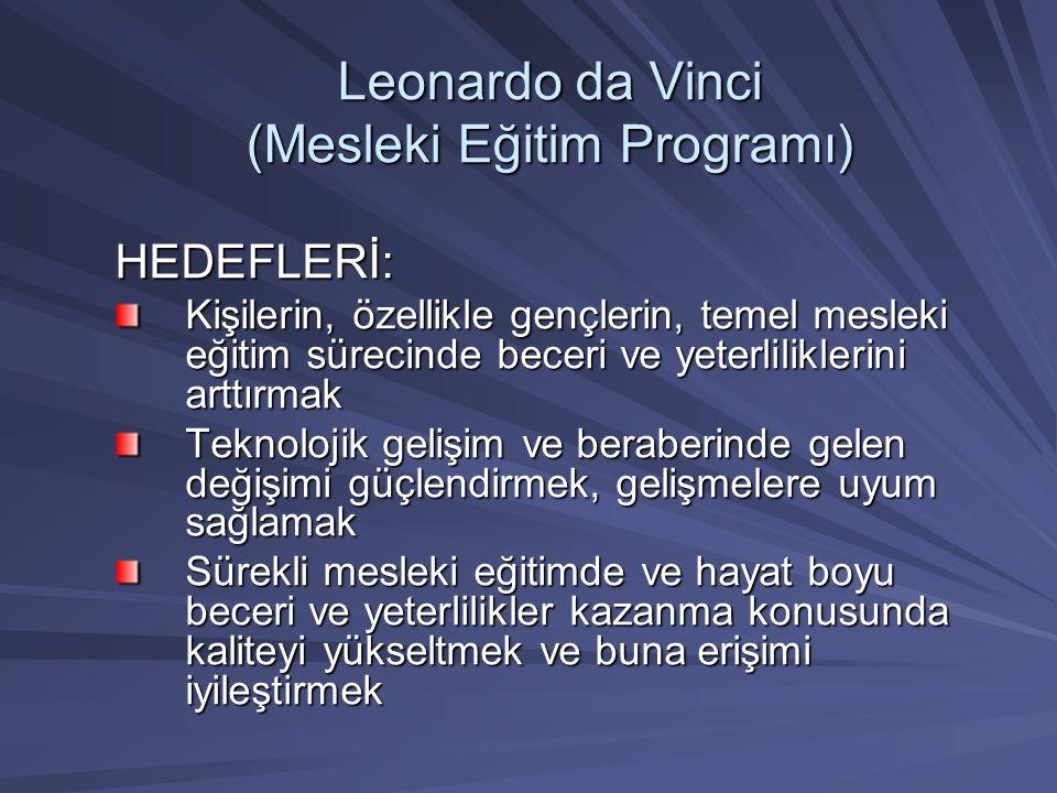 Leonardo da Vinci (Mesleki Eğitim Programı) HEDEFLERİ: Kişilerin, özellikle gençlerin, temel mesleki eğitim sürecinde beceri ve yeterliliklerini arttı