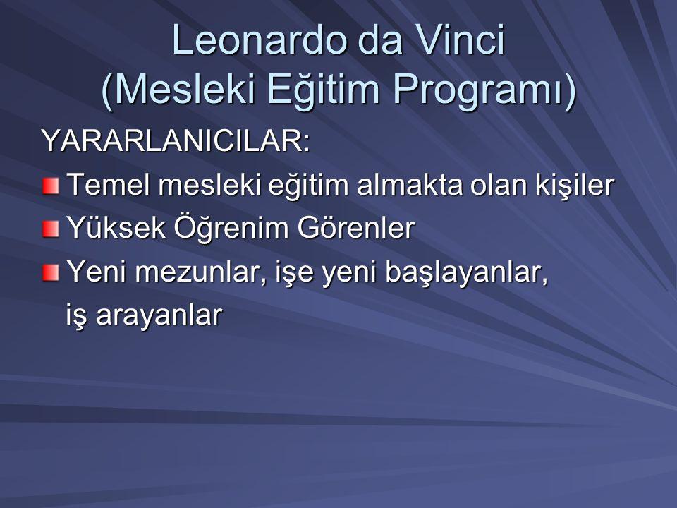 Leonardo da Vinci (Mesleki Eğitim Programı) YARARLANICILAR: Temel mesleki eğitim almakta olan kişiler Yüksek Öğrenim Görenler Yeni mezunlar, işe yeni