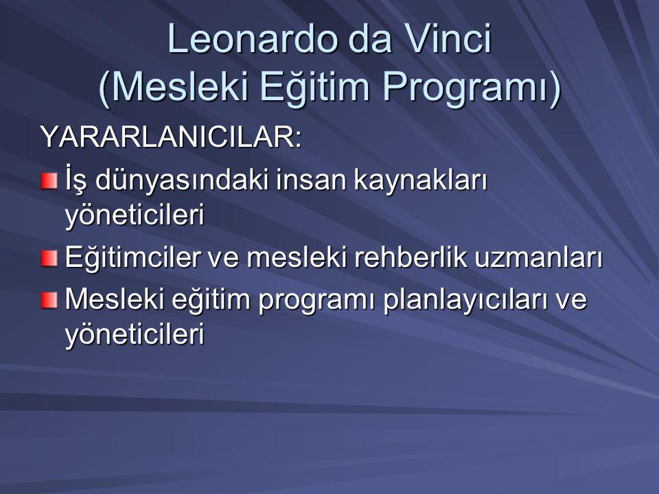 Leonardo da Vinci (Mesleki Eğitim Programı) YARARLANICILAR: İş dünyasındaki insan kaynakları yöneticileri Eğitimciler ve mesleki rehberlik uzmanları M