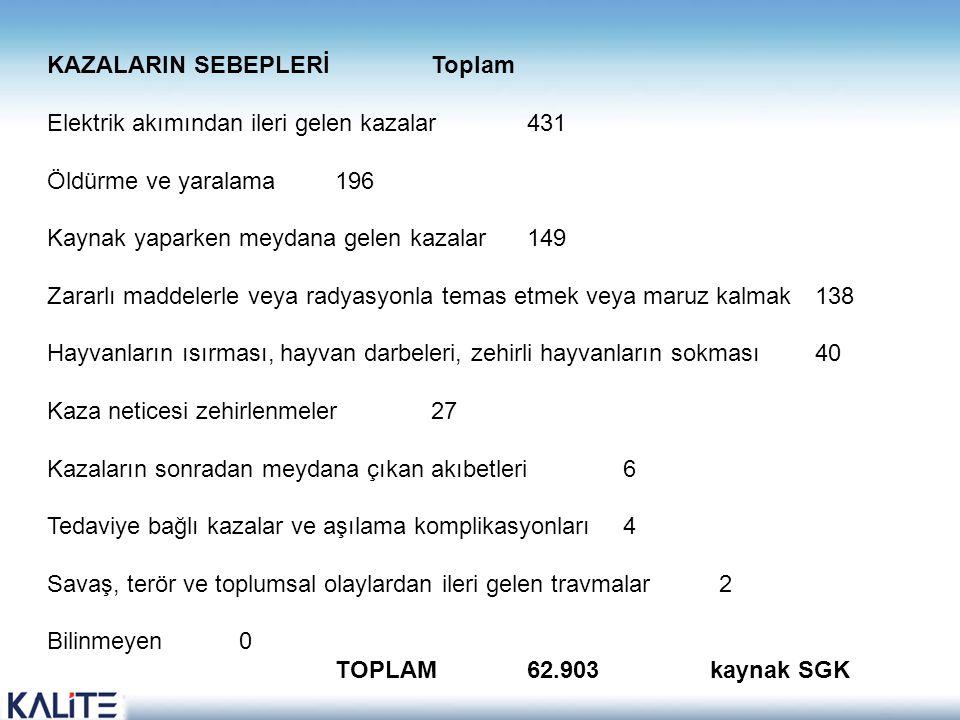 KAZALARIN SEBEPLERİ Toplam Elektrik akımından ileri gelen kazalar 431 Öldürme ve yaralama 196 Kaynak yaparken meydana gelen kazalar 149 Zararlı maddel