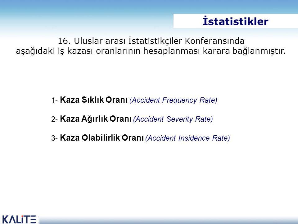 16. Uluslar arası İstatistikçiler Konferansında aşağıdaki iş kazası oranlarının hesaplanması karara bağlanmıştır. 1- Kaza Sıklık Oranı (Accident Frequ