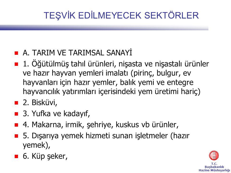 T.C.Başbakanlık Hazine Müsteşarlığı TEŞVİK EDİLMEYECEK SEKTÖRLER  A.