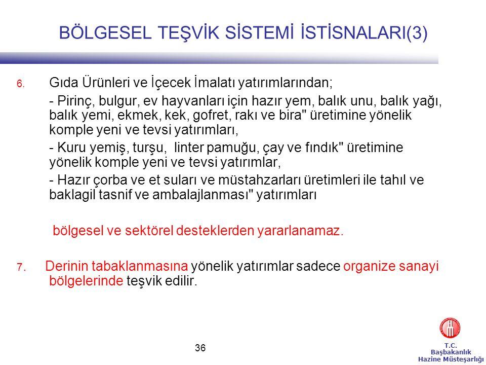 T.C.Başbakanlık Hazine Müsteşarlığı 36 BÖLGESEL TEŞVİK SİSTEMİ İSTİSNALARI(3) 6.