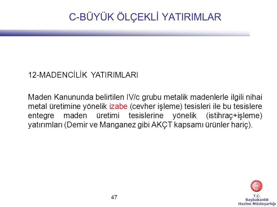 T.C. Başbakanlık Hazine Müsteşarlığı 47 12-MADENCİLİK YATIRIMLARI Maden Kanununda belirtilen IV/c grubu metalik madenlerle ilgili nihai metal üretimin
