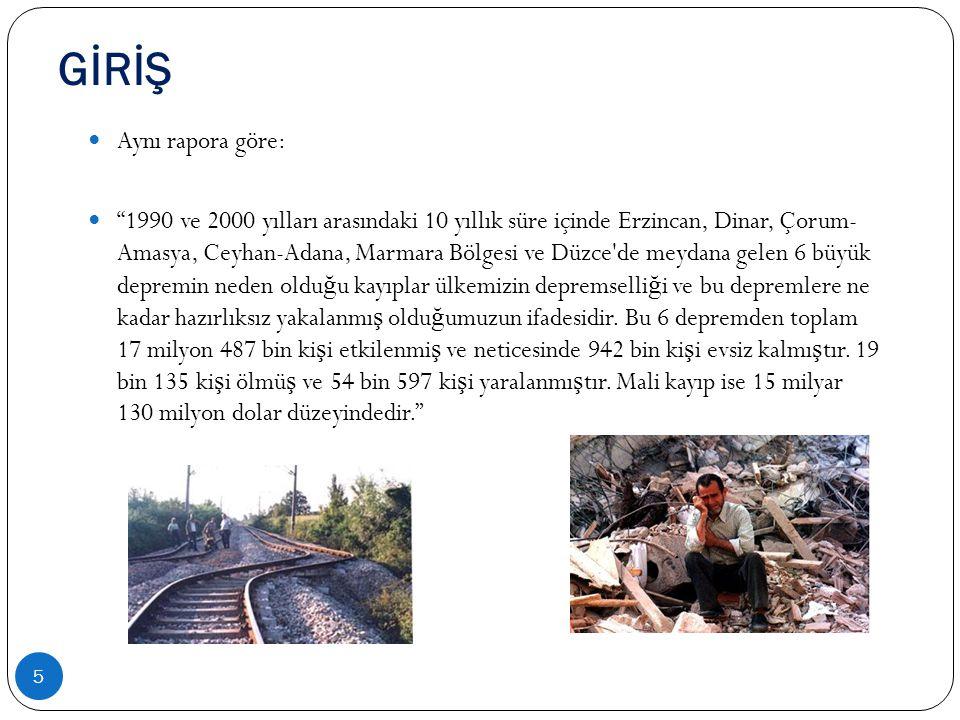 """GİRİŞ 5  Aynı rapora göre:  """"1990 ve 2000 yılları arasındaki 10 yıllık süre içinde Erzincan, Dinar, Çorum- Amasya, Ceyhan-Adana, Marmara Bölgesi ve"""