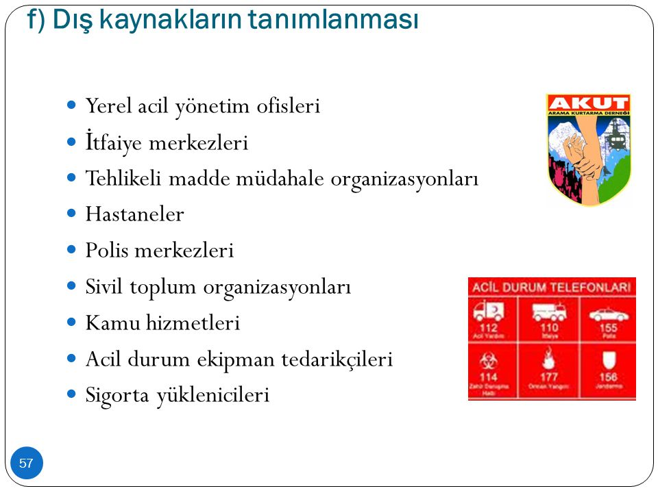 f) Dış kaynakların tanımlanması 57  Yerel acil yönetim ofisleri  İ tfaiye merkezleri  Tehlikeli madde müdahale organizasyonları  Hastaneler  Poli