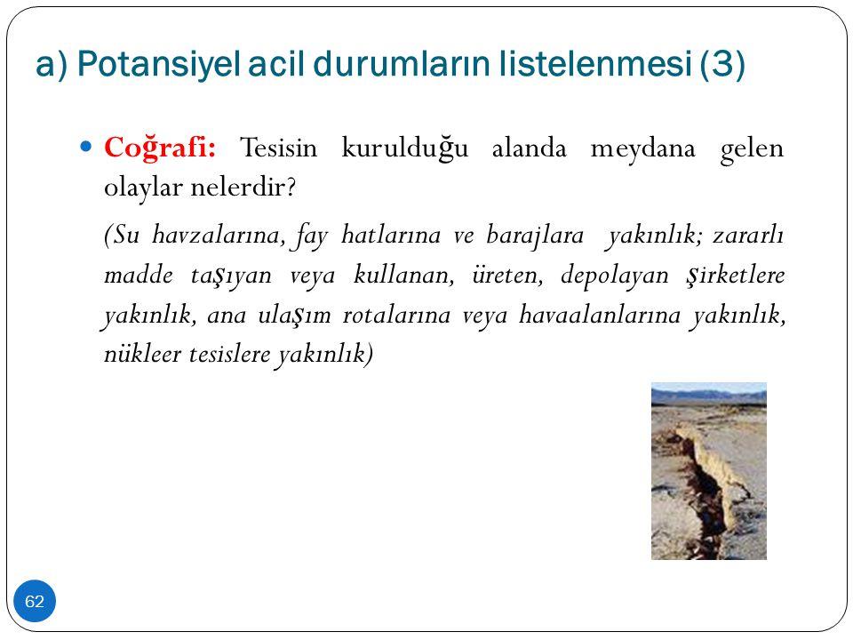 a) Potansiyel acil durumların listelenmesi (3) 62  Co ğ rafi: Tesisin kuruldu ğ u alanda meydana gelen olaylar nelerdir? (Su havzalarına, fay hatları
