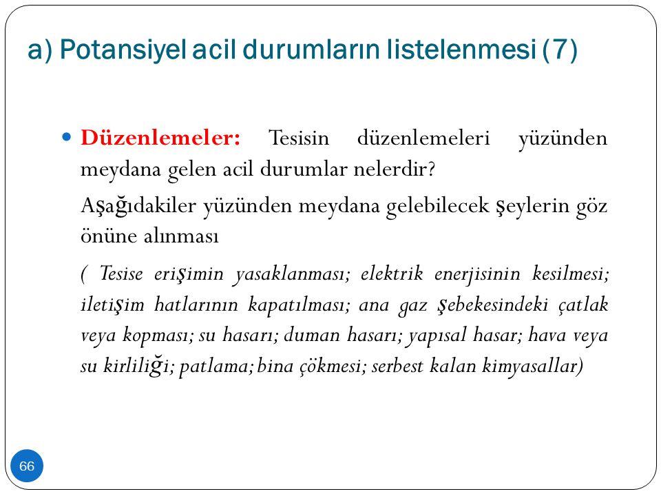 a) Potansiyel acil durumların listelenmesi (7) 66  Düzenlemeler: Tesisin düzenlemeleri yüzünden meydana gelen acil durumlar nelerdir? A ş a ğ ıdakile