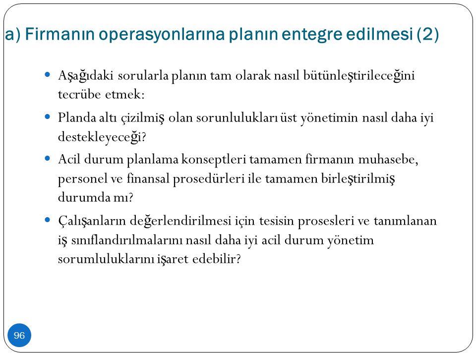 a) Firmanın operasyonlarına planın entegre edilmesi (2) 96  A ş a ğ ıdaki sorularla planın tam olarak nasıl bütünle ş tirilece ğ ini tecrübe etmek: 
