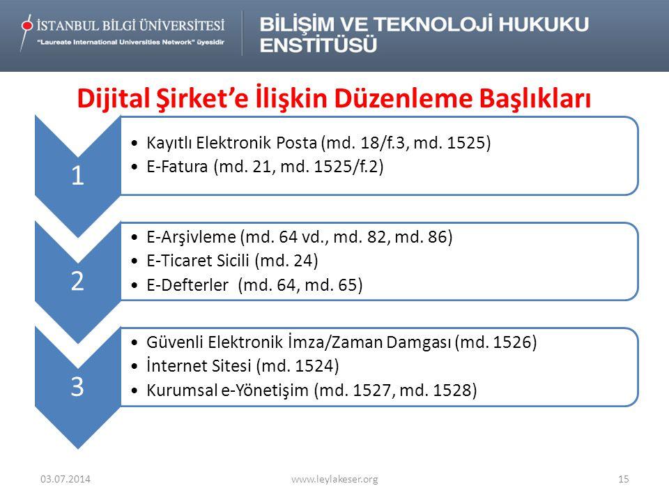Dijital Şirket'e İlişkin Düzenleme Başlıkları 03.07.2014www.leylakeser.org15 1 •Kayıtlı Elektronik Posta (md.