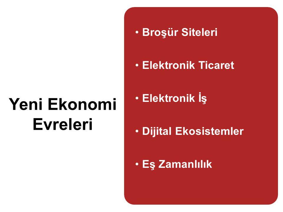 Yeni Ekonomi Evreleri •Broşür Siteleri •Elektronik Ticaret •Elektronik İş •Dijital Ekosistemler •Eş Zamanlılık