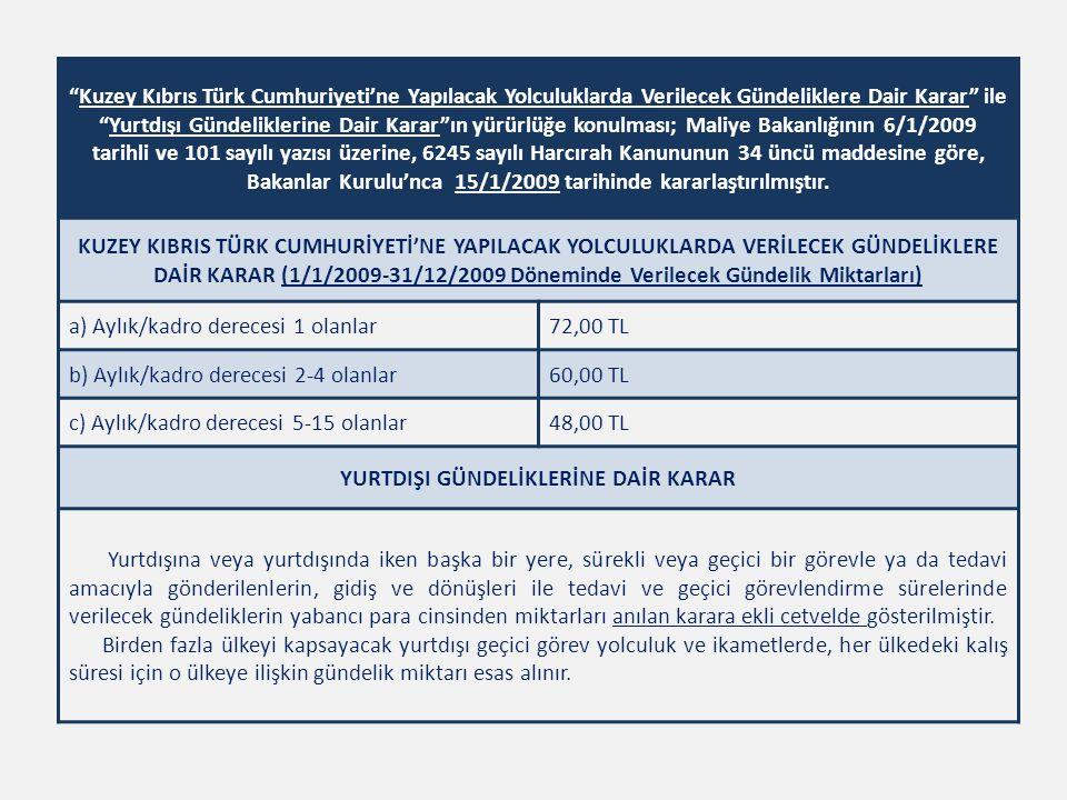 """""""Kuzey Kıbrıs Türk Cumhuriyeti'ne Yapılacak Yolculuklarda Verilecek Gündeliklere Dair Karar"""" ile """"Yurtdışı Gündeliklerine Dair Karar""""ın yürürlüğe konu"""