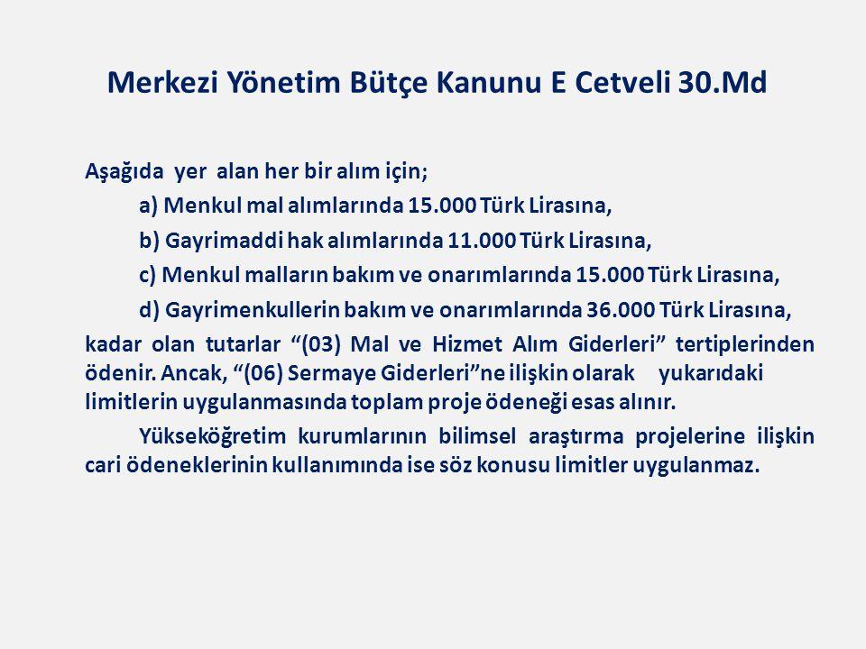 Merkezi Yönetim Bütçe Kanunu E Cetveli 30.Md Aşağıda yer alan her bir alım için; a) Menkul mal alımlarında 15.000 Türk Lirasına, b) Gayrimaddi hak alı