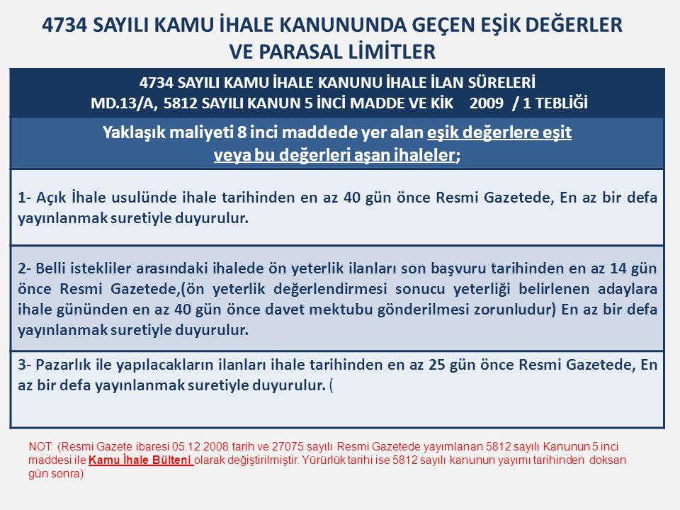 4734 SAYILI KAMU İHALE KANUNU İHALE İLAN SÜRELERİ MD.13/B VE KİK 2009 / 1 TEBLİĞİ Yaklaşık maliyeti 8 inci maddede yer alan eşik değerlerin altında kalan ihaleler 1) Yaklaşık maliyeti 66.154,00 Türk Lirasına kadar olan mal veya hizmet alımları ile 132.311,00 Türk Lirasına kadar olan yapım işlerinin ihalesi, ihale tarihinden en az yedi gün önce ihalenin ve işin yapılacağı yerde çıkan gazetelerin en az ikisinde, En az birer defa yayımlanmak suretiyle ilân edilerek duyurulur.