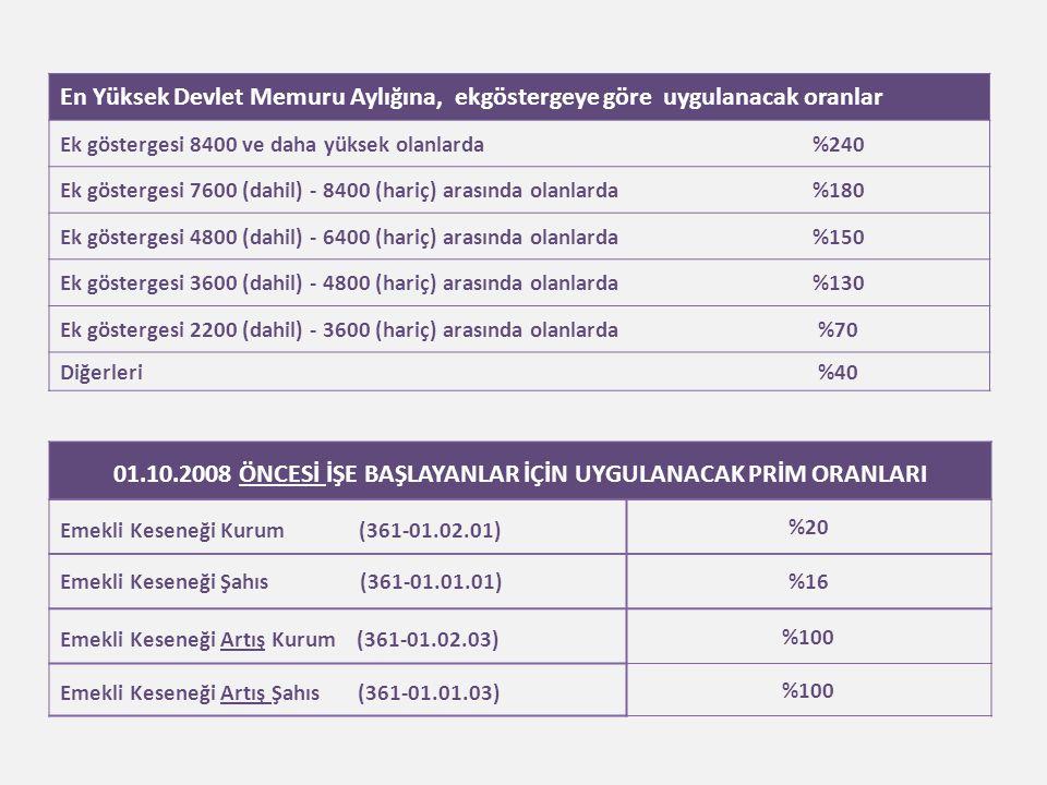 En Yüksek Devlet Memuru Aylığına, ekgöstergeye göre uygulanacak oranlar Ek göstergesi 8400 ve daha yüksek olanlarda%240 Ek göstergesi 7600 (dahil) - 8