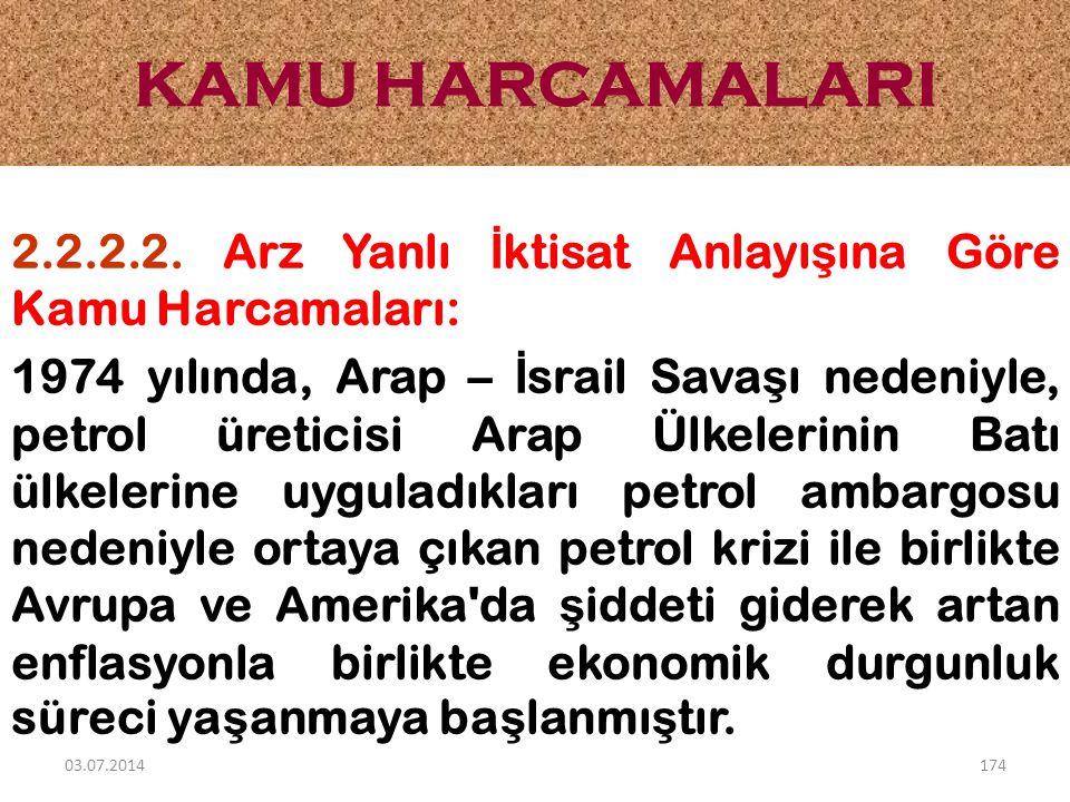 2.2.2.2. Arz Yanlı İ ktisat Anlayı ş ına Göre Kamu Harcamaları: 1974 yılında, Arap – İ srail Sava ş ı nedeniyle, petrol üreticisi Arap Ülkelerinin Bat
