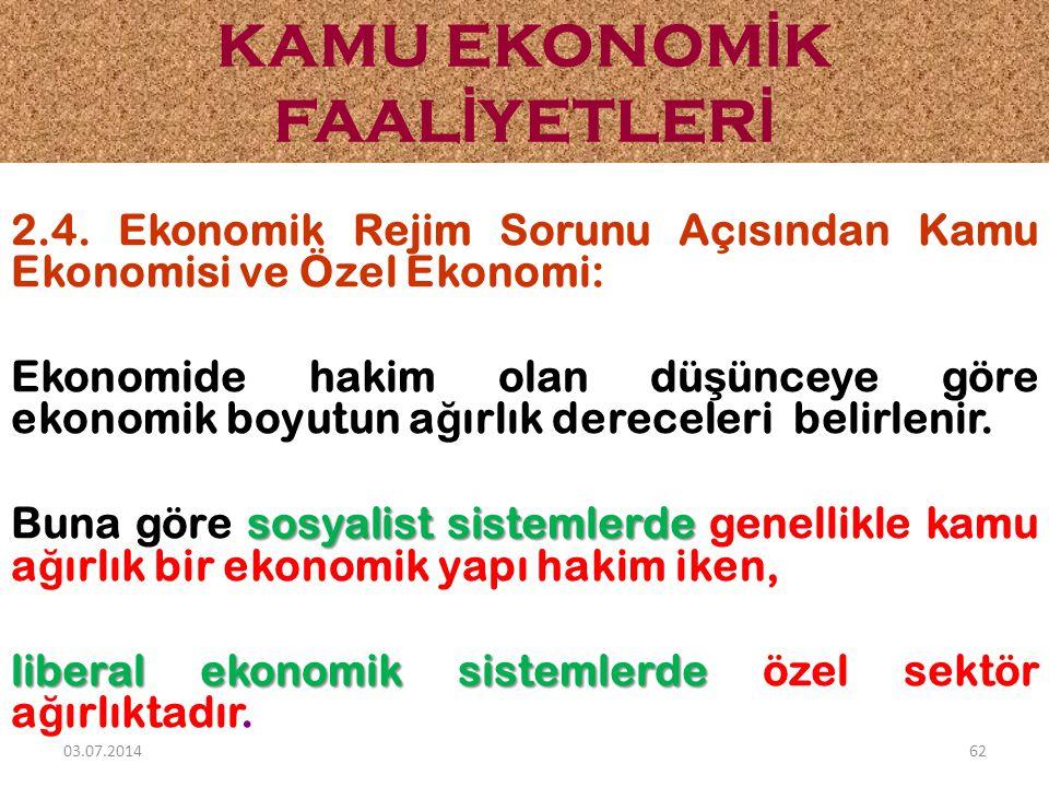 2.4. Ekonomik Rejim Sorunu Açısından Kamu Ekonomisi ve Özel Ekonomi: Ekonomide hakim olan dü ş ünceye göre ekonomik boyutun a ğ ırlık dereceleri belir