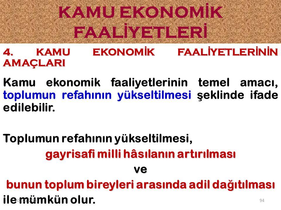 4. KAMU EKONOM İ K FAAL İ YETLER İ N İ N AMAÇLARI Kamu ekonomik faaliyetlerinin temel amacı, toplumun refahının yükseltilmesi ş eklinde ifade edilebil