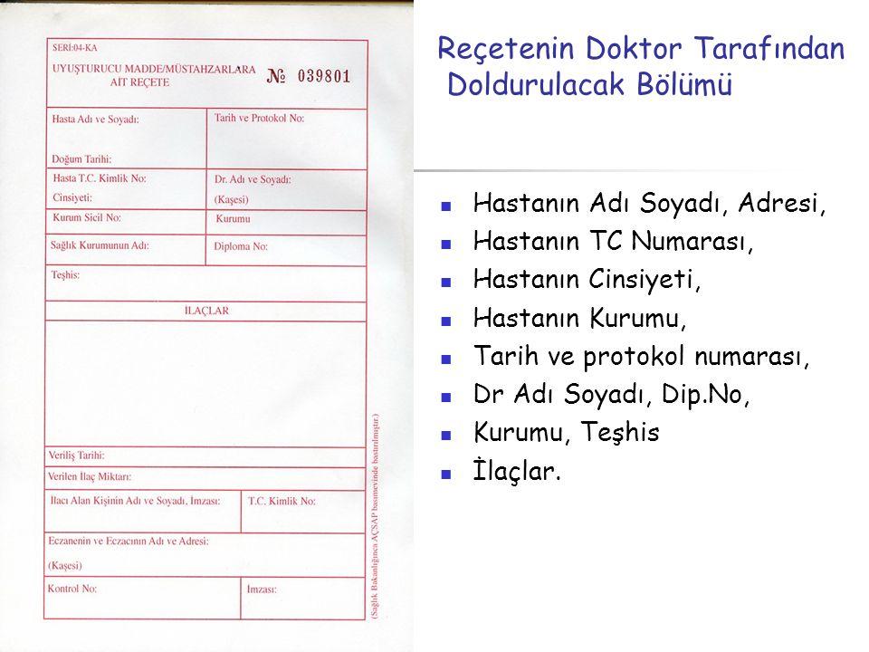  Hastanın Adı Soyadı, Adresi,  Hastanın TC Numarası,  Hastanın Cinsiyeti,  Hastanın Kurumu,  Tarih ve protokol numarası,  Dr Adı Soyadı, Dip.No,