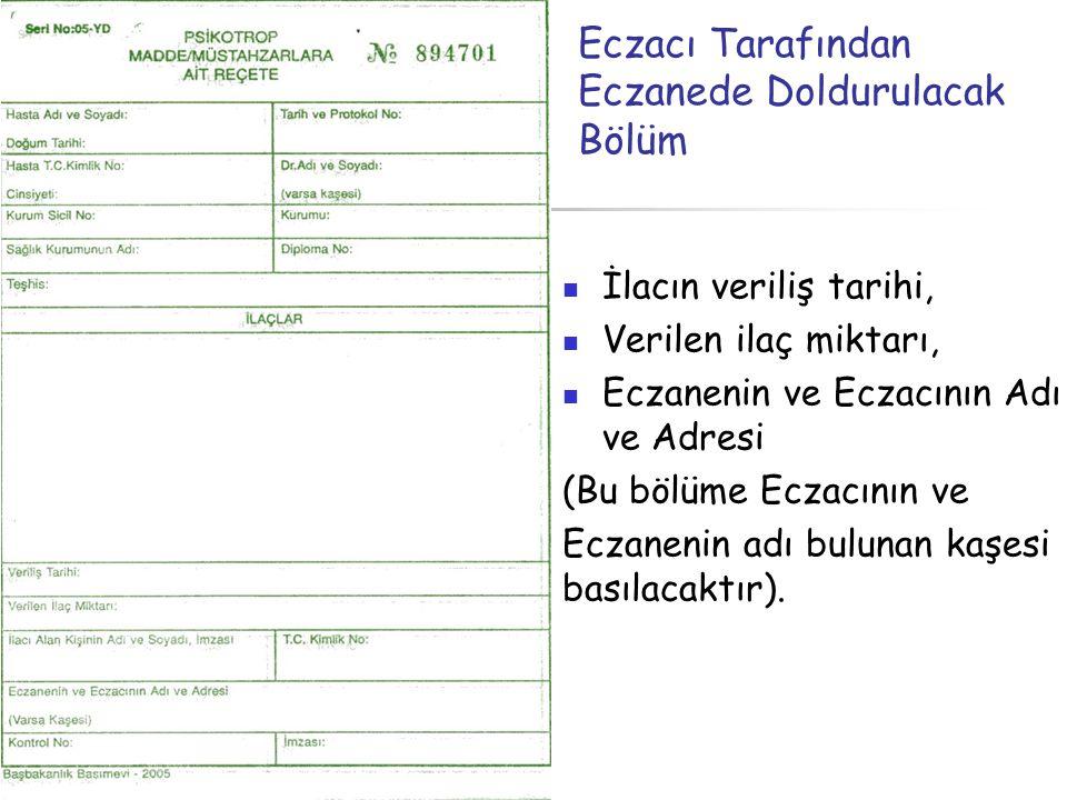Eczacı Tarafından Eczanede Doldurulacak Bölüm  İlacın veriliş tarihi,  Verilen ilaç miktarı,  Eczanenin ve Eczacının Adı ve Adresi (Bu bölüme Eczac