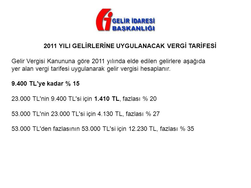 2011 YILI GELİRLERİNE UYGULANACAK VERGİ TARİFESİ Gelir Vergisi Kanununa göre 2011 yılında elde edilen gelirlere aşağıda yer alan vergi tarifesi uygula
