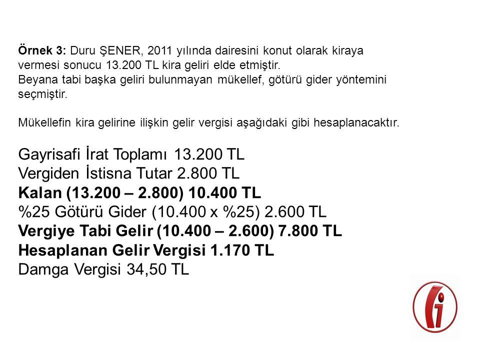 Örnek 3: Duru ŞENER, 2011 yılında dairesini konut olarak kiraya vermesi sonucu 13.200 TL kira geliri elde etmiştir. Beyana tabi başka geliri bulunmaya