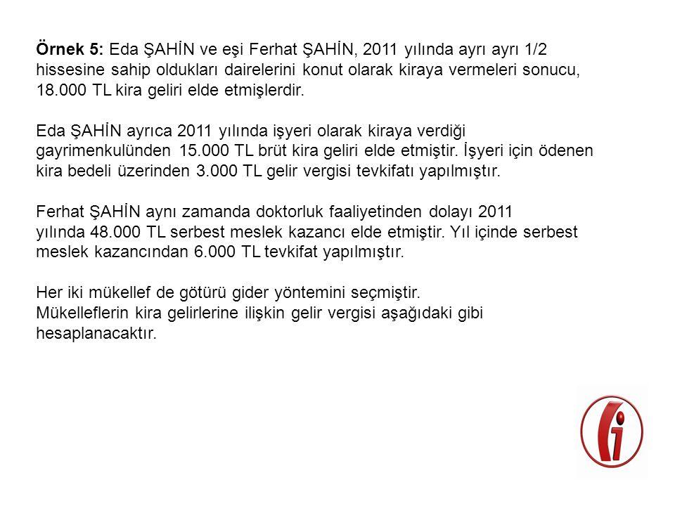 Örnek 5: Eda ŞAHİN ve eşi Ferhat ŞAHİN, 2011 yılında ayrı ayrı 1/2 hissesine sahip oldukları dairelerini konut olarak kiraya vermeleri sonucu, 18.000