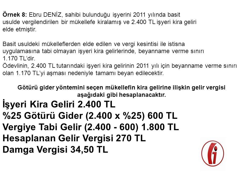 Örnek 8: Ebru DENİZ, sahibi bulunduğu işyerini 2011 yılında basit usulde vergilendirilen bir mükellefe kiralamış ve 2.400 TL işyeri kira geliri elde e