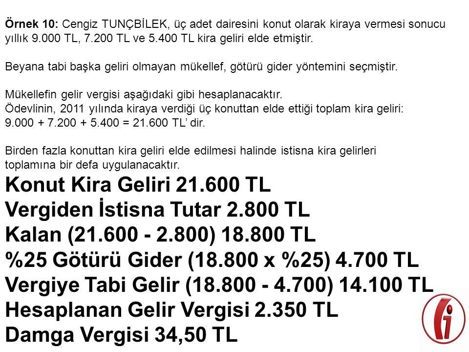 Örnek 10: Cengiz TUNÇBİLEK, üç adet dairesini konut olarak kiraya vermesi sonucu yıllık 9.000 TL, 7.200 TL ve 5.400 TL kira geliri elde etmiştir. Beya