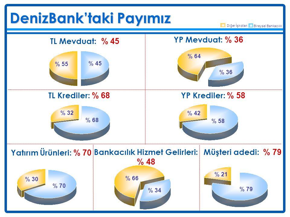 DenizBank'taki Payımız Deniz Müşteri adedi: % 79 % 79 % 21 TL Krediler: % 68 % 68 % 32 Diğer İşkolları Bireysel Bankacılık TL Mevduat: % 45 % 45 % 55