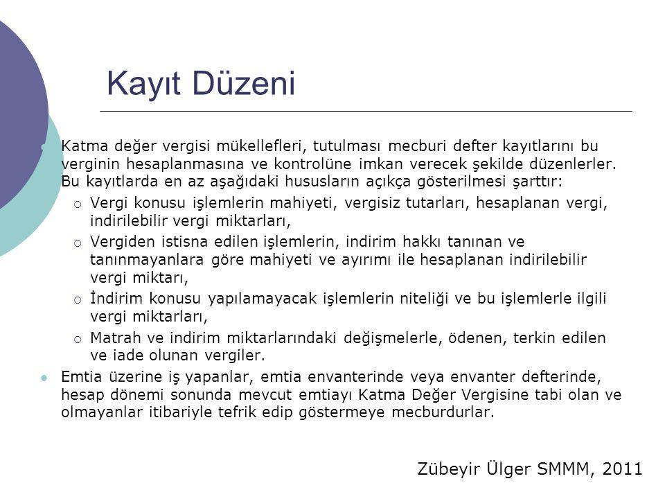 Zübeyir Ülger SMMM, 2011 Kayıt Düzeni  Katma değer vergisi mükellefleri, tutulması mecburi defter kayıtlarını bu verginin hesaplanmasına ve kontrolüne imkan verecek şekilde düzenlerler.