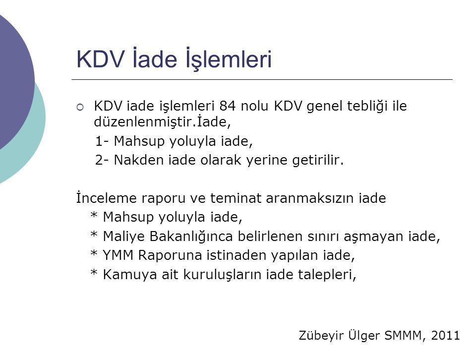 Zübeyir Ülger SMMM, 2011 KDV İade İşlemleri  KDV iade işlemleri 84 nolu KDV genel tebliği ile düzenlenmiştir.İade, 1- Mahsup yoluyla iade, 2- Nakden iade olarak yerine getirilir.