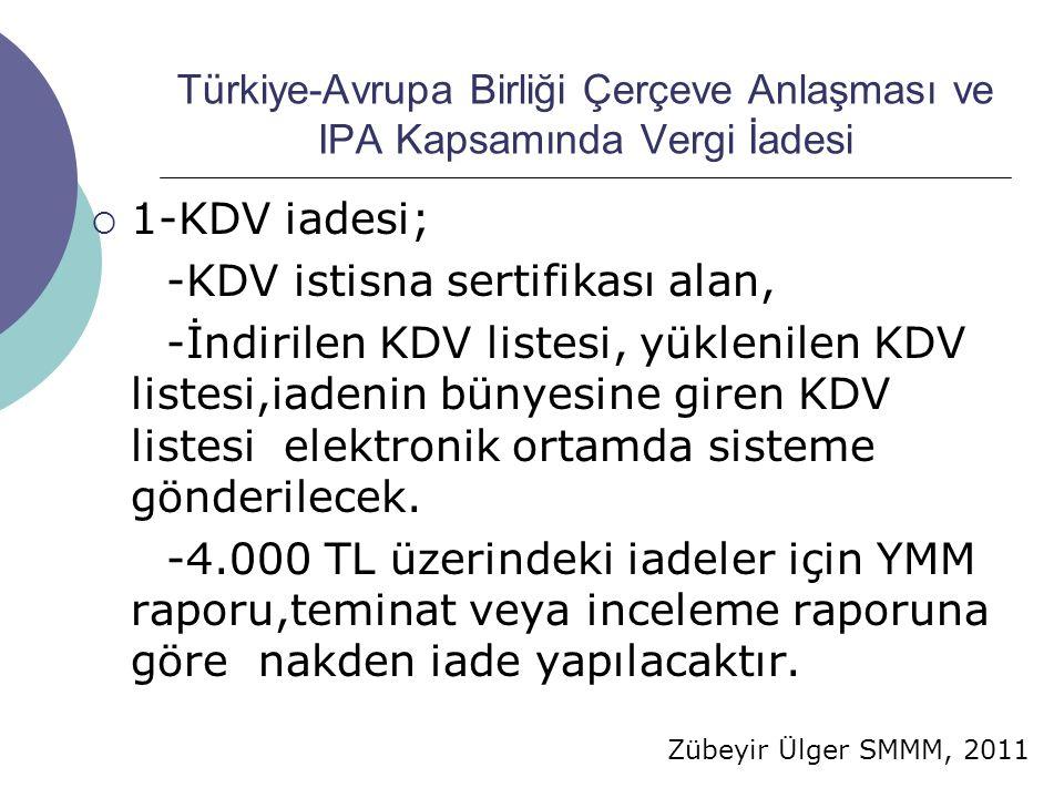 Zübeyir Ülger SMMM, 2011 Türkiye-Avrupa Birliği Çerçeve Anlaşması ve IPA Kapsamında Vergi İadesi  1-KDV iadesi; -KDV istisna sertifikası alan, -İndirilen KDV listesi, yüklenilen KDV listesi,iadenin bünyesine giren KDV listesi elektronik ortamda sisteme gönderilecek.