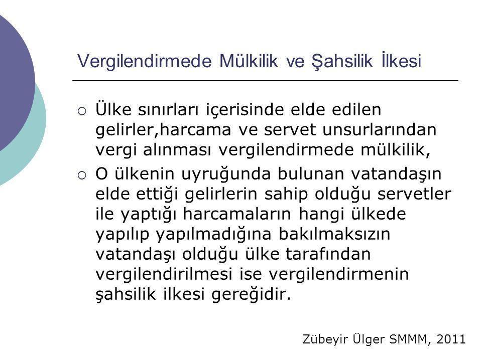 Zübeyir Ülger SMMM, 2011 Vergilendirmede Mülkilik ve Şahsilik İlkesi  Ülke sınırları içerisinde elde edilen gelirler,harcama ve servet unsurlarından