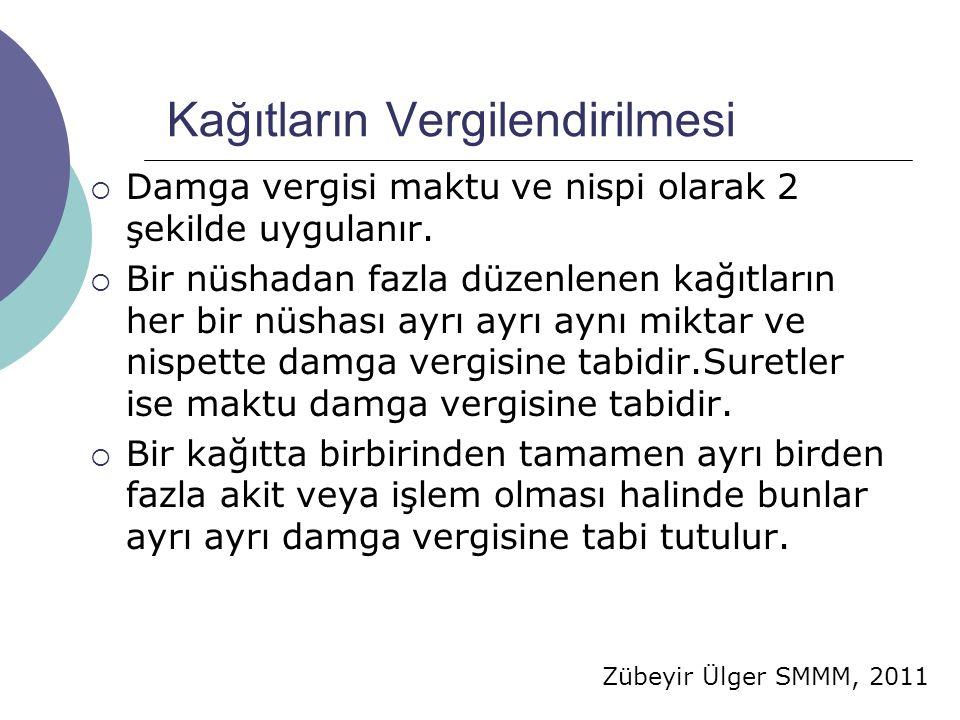 Zübeyir Ülger SMMM, 2011 Kağıtların Vergilendirilmesi  Damga vergisi maktu ve nispi olarak 2 şekilde uygulanır.
